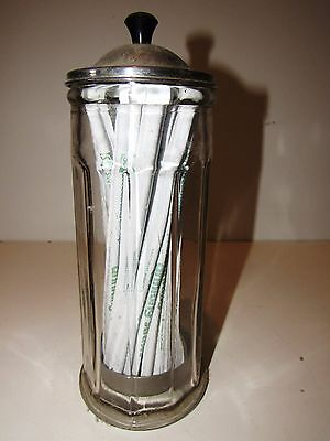 "VINTAGE 1920's-30's CLEAR GLASS 11"" TALL DINER SODA FOUNTAIN STRAW HOLDER"