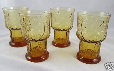 4 Libbey Country Garden Tumblers Amber Glass Tea Water Glasses 1970s Vintage