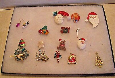 Huge lot of 15 Christmas Pin Brooches Brooch MUST SEE
