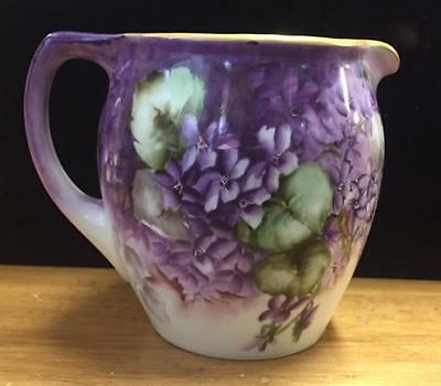 Antique hand painted signed decorative china pitcher / large jug Violets