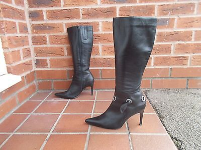 Sexy Black Leather Knee High Boots 4 uk * 37