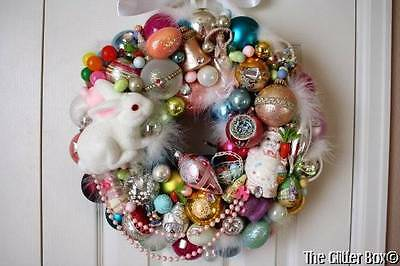 Vintage Easter Ornament Wreath Shiny Brite Flocked Bunny Indents Decorations