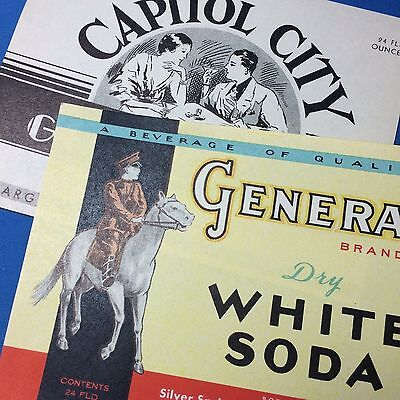 2 Vintage Original MADISON Wis GENERAL Soda & Capitol City LABEL Silver Springs