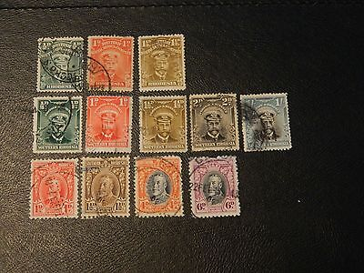 British Commonwealth small collection of 12 stamps 3 Rhodesia,9 S. Rhodesia GU.