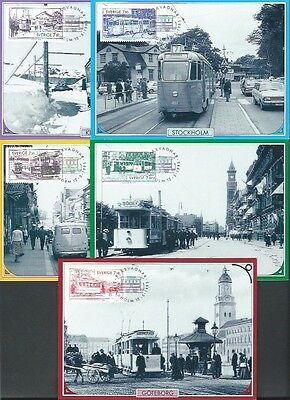 Sweden 1995 Trams Post Cards with sg 1813/7