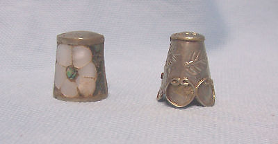 (2) Vtge Collectible Mexican Silver Thimbles Filigree/Mother of Pearl Abalone