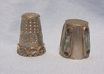 (2) Vintage Collectible Mexican Silver Thimbles Abalone Inlays/filigree decor-#7