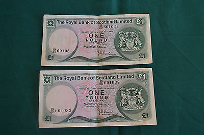 2 x Royal Bank of Scotland Limited £1 One Pound Banknotes B60 601031 & 2 used