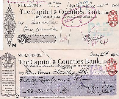 Cheques (2) Capital and Counties Bank (1909, 1915)