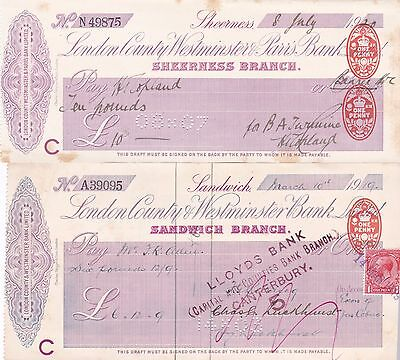 Cheques (2) London County Westminster and Parrs Bank - 1919, 1920
