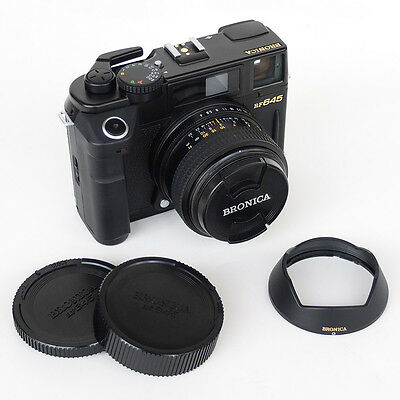 Bronica RF645 with Zenzanon 65mm f4 lens, shade, caps