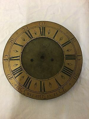 Round Antique Grandfather longcase brass  Clock Dial  By Wright Knoll