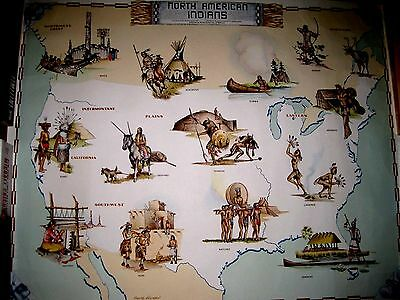 Vintage 1958 Watercolor Print Map Of North American Indian Tribes: Fritz Hilton