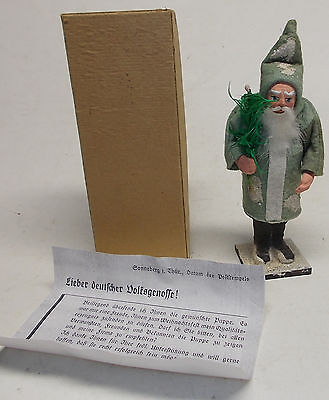 antique GREEN JACKET GERMAN SANTA CLAUS candy container 30's belsnickle w/ PAPER