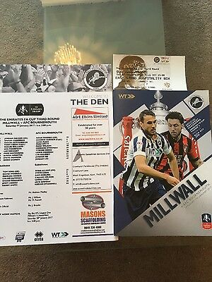 millwall v bournemouth - emirates fa cup round 3 - match ticket & teamsheet 2017
