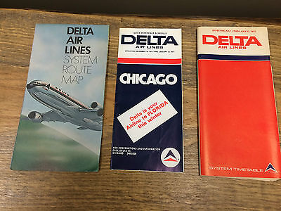 Delta Air Line Timetables And Route Map - Lot Of 3