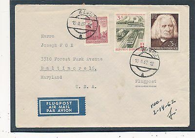 Flugpost-Brief 1962 aus Wien nach Baltimore, USA  (C12)