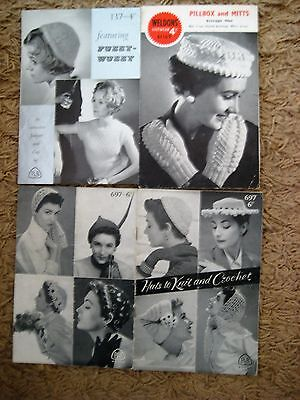 3 X  Vintage Knitting Patterns  for Ladies Hats.