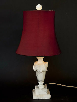 Vintage MCM Hollywood Regency White Alabaster Marble Column Table Lamp Small