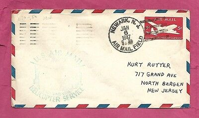 1947-First Flight Cover-Helicopter-New York-Newark