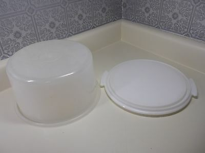 Tupperware Small Cake Carrier/ keeper  White   Bottom  w/ Opaque lid No Handle