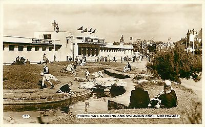 s07616 Swimming Pool, Morecambe, Lancashire, England RP postcard unposted
