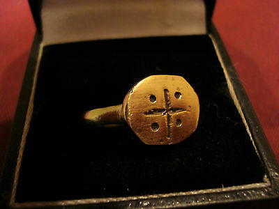 Genuine Ancient Medieval Crusaders Ring With 'jerusalem Cross'--Detector Find