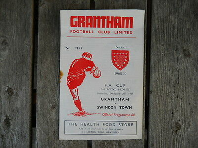Grantham v Swindon, 1968 Football Programme, FA Cup, 2nd. Round