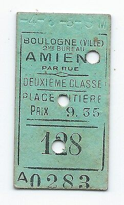 Railway Ticket France Boulogne Ville  Amiens  encoded -4-8-5-5M see scan