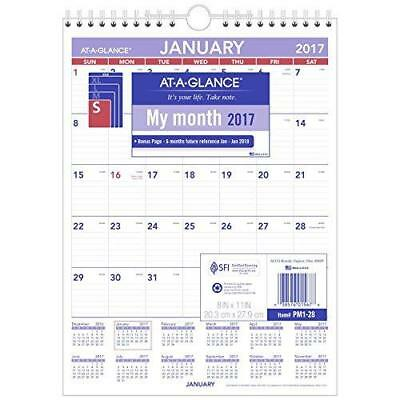 "AT-A-GLANCE Wall Calendar 2017, Monthly, 8 x 11"", Mini-Size, Ruled, Wirebound"