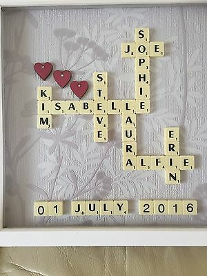 """**PERSONALISED SCRABBLE ART PICTURE FRAME 12x12""""/ BABY/WEDDING/FAMILY"""