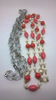 Vintage Jewllery Gorgeous Pink Marble & Lucite  Bead Necklaces 1960s/1970s