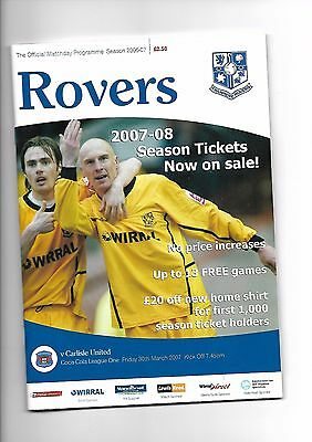 Tranmere Rovers  v  Carlisle United, 30th March 2007