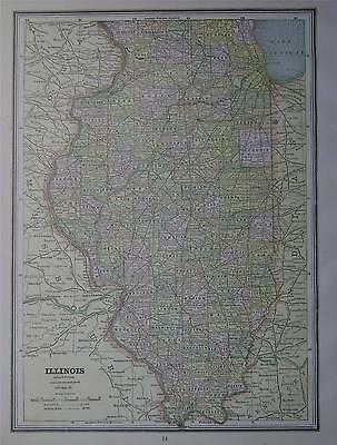 1887 Illinois Antique Color Atlas Map**  ... Original 130 years-old!!