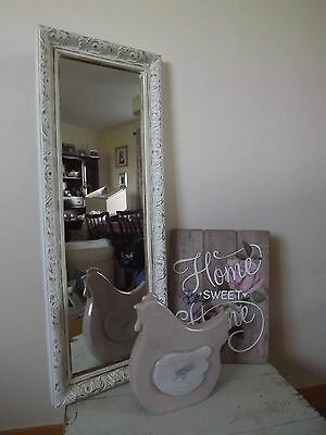 Wall Mounted Ornate White/Cream Mirror Shabby Chic Distressed Style ~ French