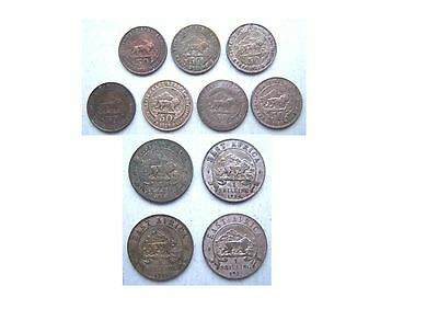 British East Africa - 7 Silver Half Shillings & 4 Silver Shillings