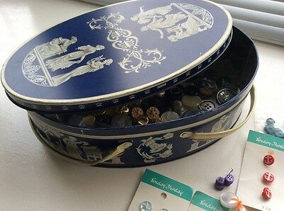 Vintage Huntley And Palmers Tin With Vintage Buttons Large Tin Classic Design Ra