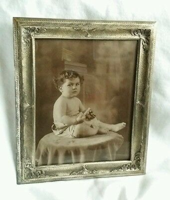 Antique Vintage 12x10 Chased Sterling ?Silver Old Photo Picture FRAME Hallmarked