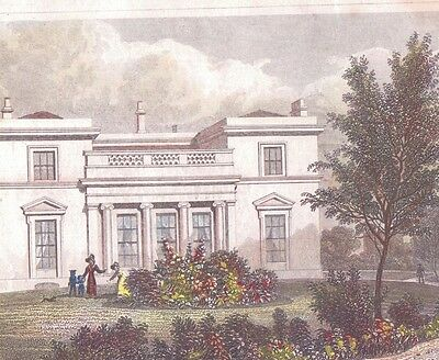 1827 17th century etching engraving Hanover lodge Regents park villa london art