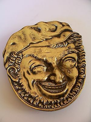 Solid Brass Crying Man with Tears Pin Dish / Ashtray in Very Nice Condition.