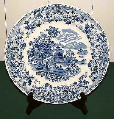 """Wood & Sons England Seaforth Blue Scalloped 9 3/4"""" Dinner Plate - Very Good"""