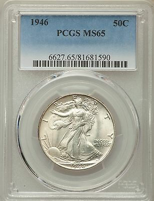 1946 Walking Liberty Half Dollar Silver Coin 50C PCGS MS 65