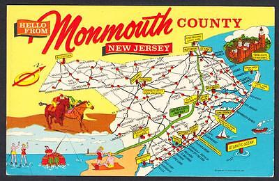 MONMOUTH COUNTY NEW JERSEY SCENIC MAP Postcard 3394
