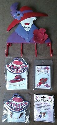 Red Hat Society Wall Hanger, Pin, Earrings, 18 KT Pin, Flashing Magnet All New