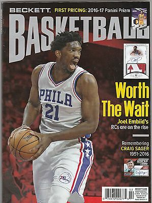 New Current Beckett Basketball Price Guide Magazine, February 2017 (Joel Embiid)