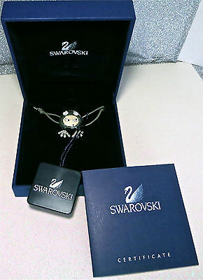 CUTE! Signed Swarovski Crystal Character Soft Corded Bracelet Box & Certificate