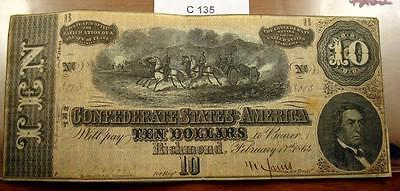 1864 $10 Ten Dollar Confederate Note / Currency T-68 #c135
