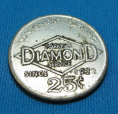 Diamond Parking Service Park and Lock 25 Cents Since 1922 Merchant Metal Token