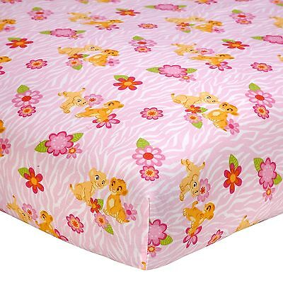 New Disney Baby Nala's Jungle Fitted Crib or Toddler Sheet Pink Flowers