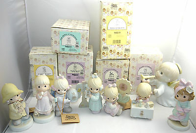 Vintage Lot Of 7 Precious Moments Figurines Collectibles Enesco + Box